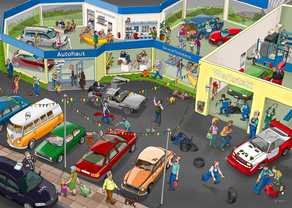 Wimmelbild Autohaus